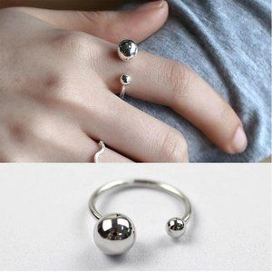 NEW 925 Sterling Silver Bead Ball Adjustable Ring